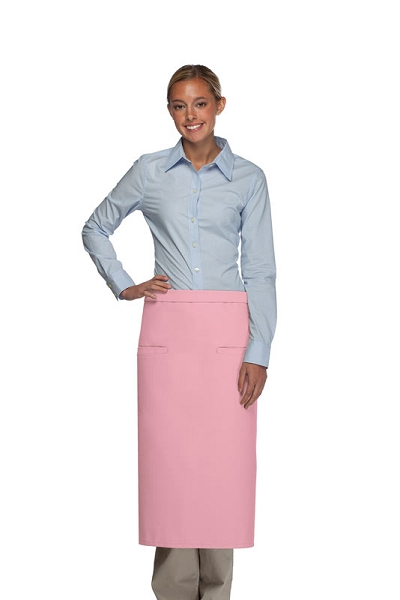 Style 120-2I Professional Double Inset Pocket Full Length Bistro Apron - Pink