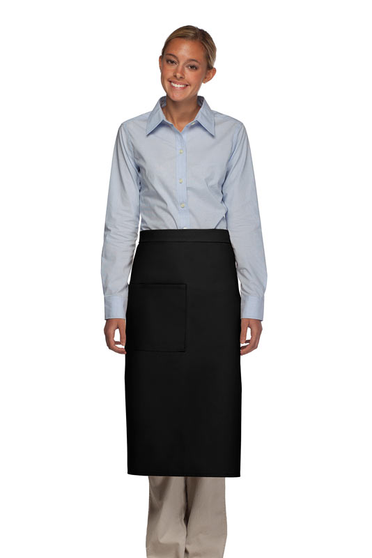 Style 120 Professional One Pocket Full Length Bistro Apron - Black