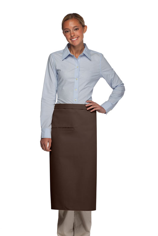 Style 120-2I Professional Double Inset Pocket Full Length Bistro Apron - Brown