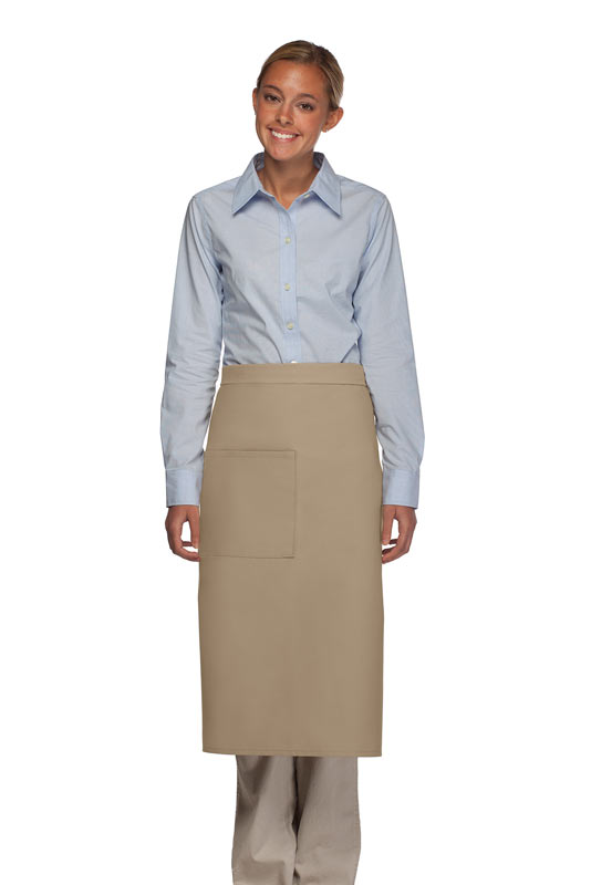 Style 120 Professional One Pocket Full Length Bistro Apron - Khaki