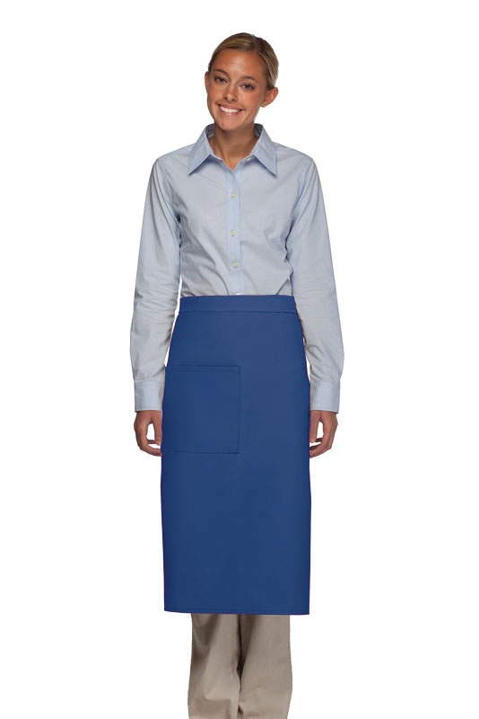 Style 120 Professional One Pocket Full Length Bistro Apron - Royal Blue