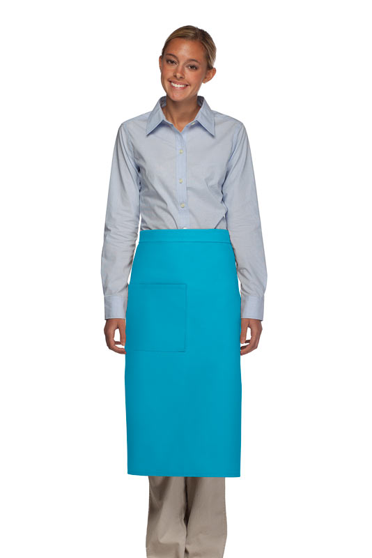 Style 120 Professional One Pocket Full Length Bistro Apron - Turquoise