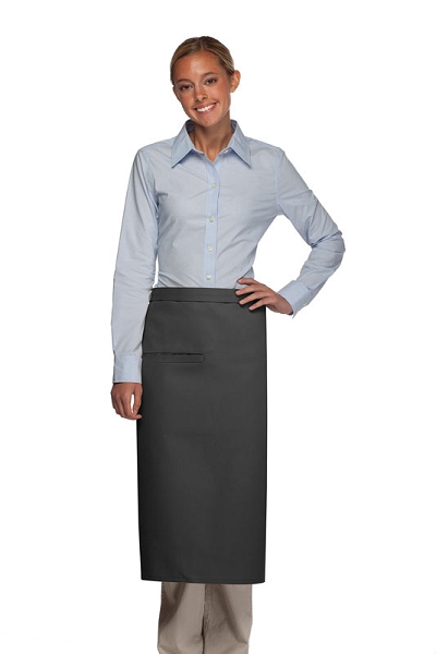 Style 120I Professional One Inset Pocket Full Length Bistro Apron - Charcoal Gray