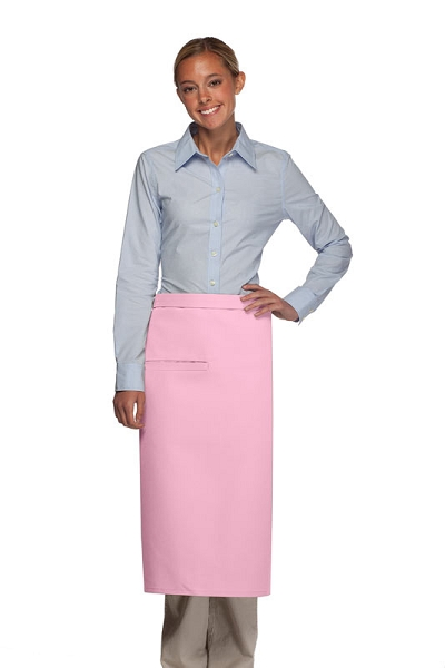 Style 120I Professional One Inset Pocket Full Length Bistro Apron - Pink
