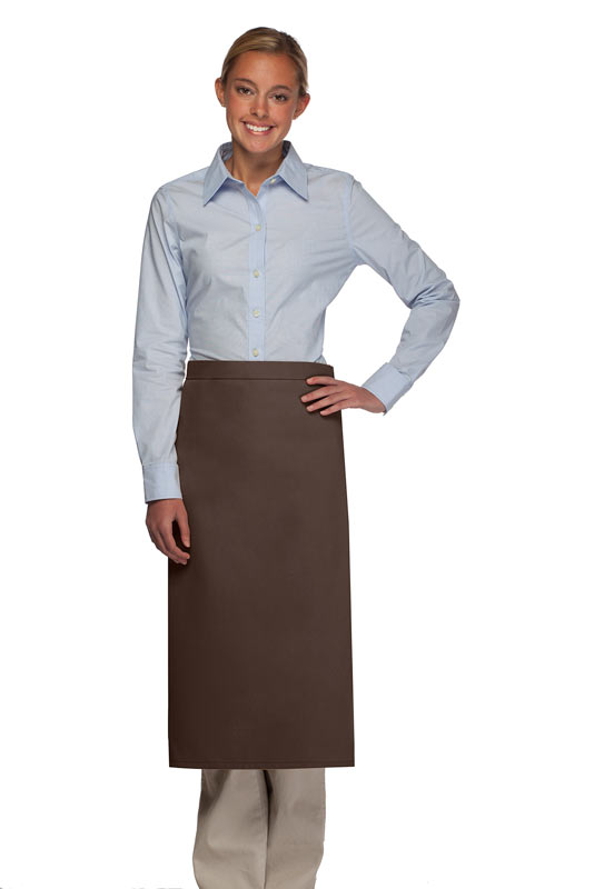 Style 120NP Professional No Pocket Full Length Bistro Apron - Brown