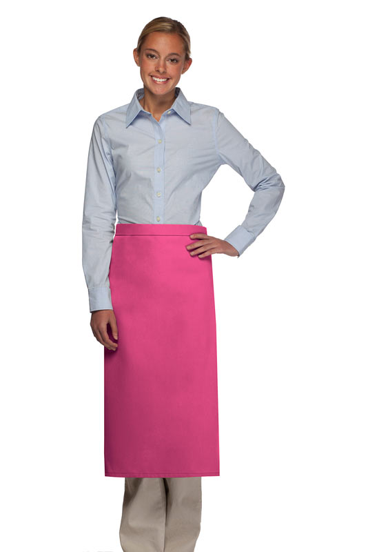 Style 120NP Professional No Pocket Full Length Bistro Apron - Hot Pink