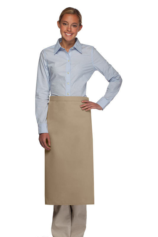 Style 120NP Professional No Pocket Full Length Bistro Apron - Khaki