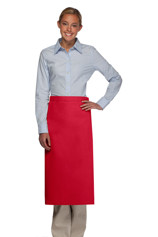 Style 120NP Professional No Pocket Full Length Bistro Apron - Red