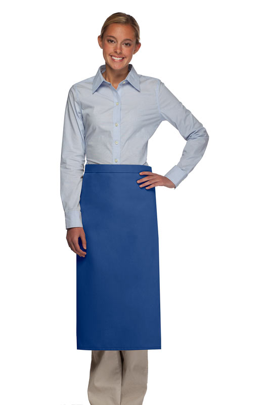 OVERSTOCK 120NP Royal Blue Professional No Pocket Full Length Bistro Apron