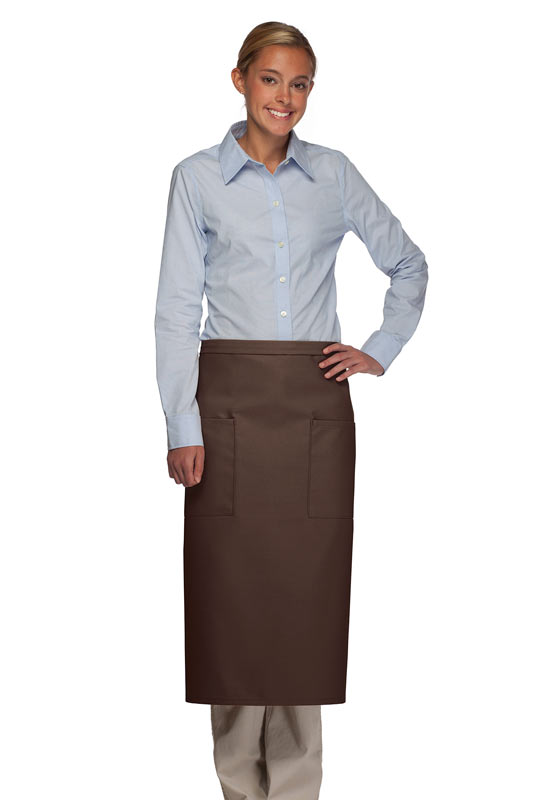 Style 122 Professional Two Pocket Full Length Bistro Apron - Brown