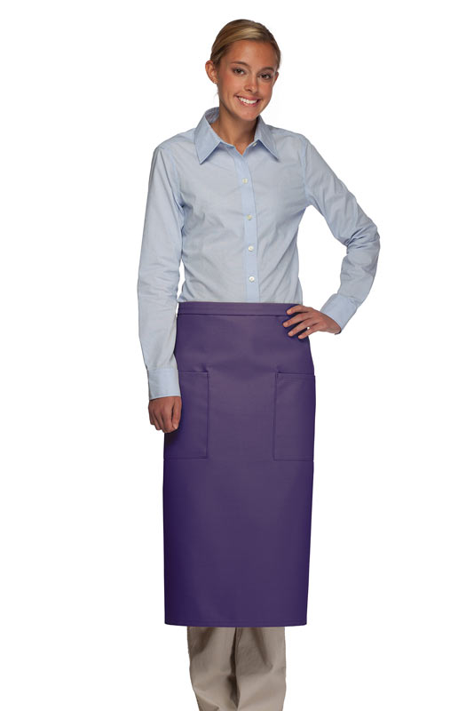 Style 122 Professional Two Pocket Full Length Bistro Apron - Purple
