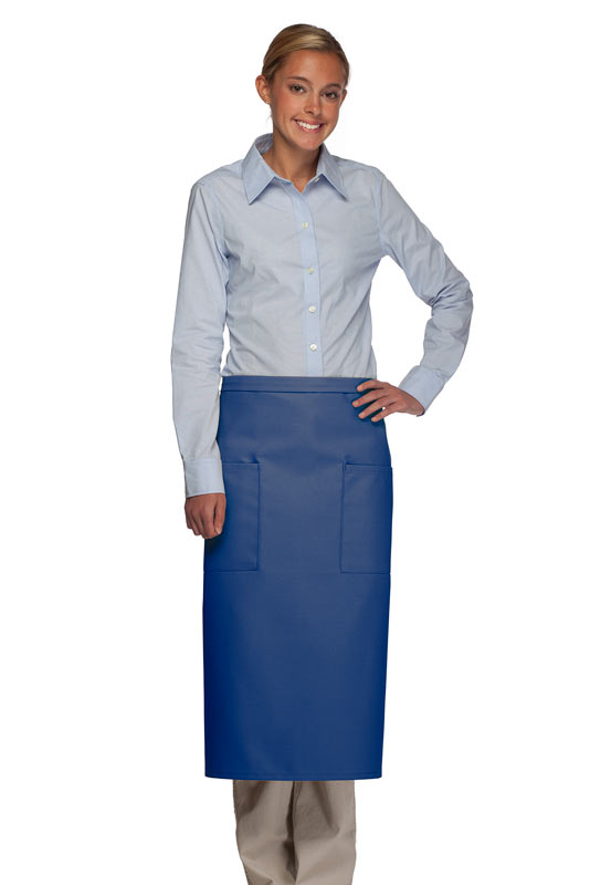 Style 122 Professional Two Pocket Full Length Bistro Apron - Royal Blue