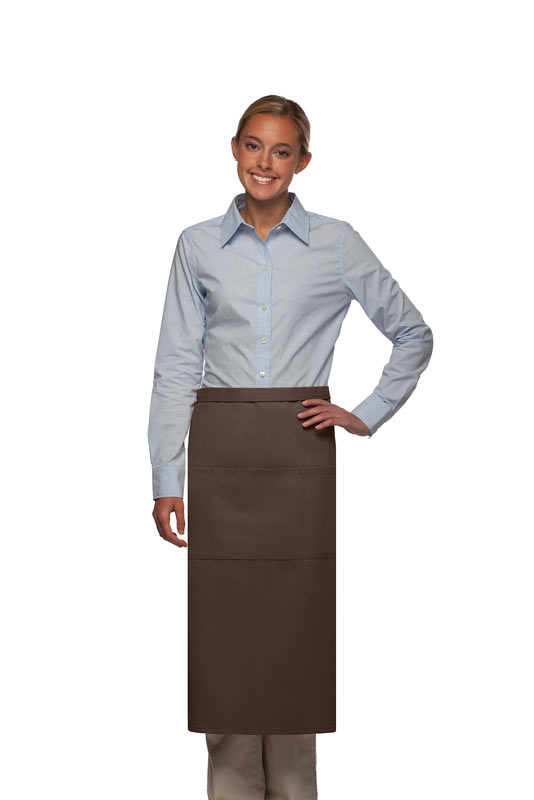 Style 123 Professional Three Pocket Full Length Bistro Apron - Brown