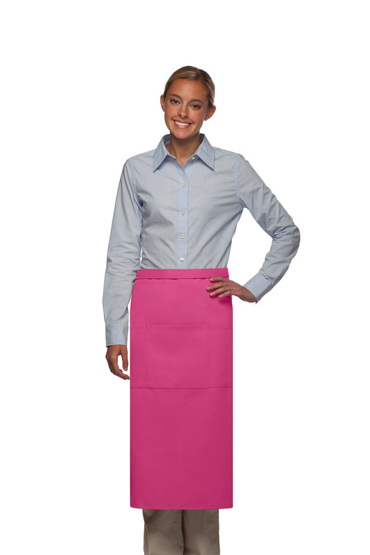 Style 123 Professional Three Pocket Full Length Bistro Apron - Hot Pink