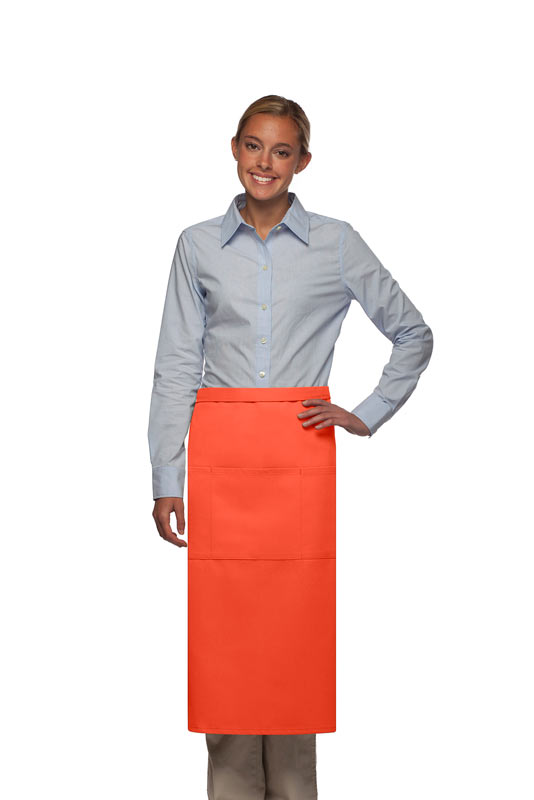 Style 123 Professional Three Pocket Full Length Bistro Apron - Orange