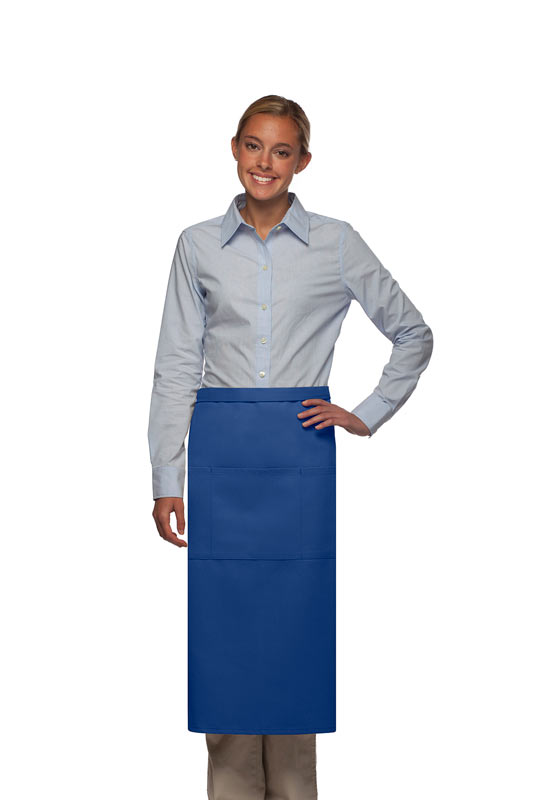 Style 123 Professional Three Pocket Full Length Bistro Apron - Royal Blue