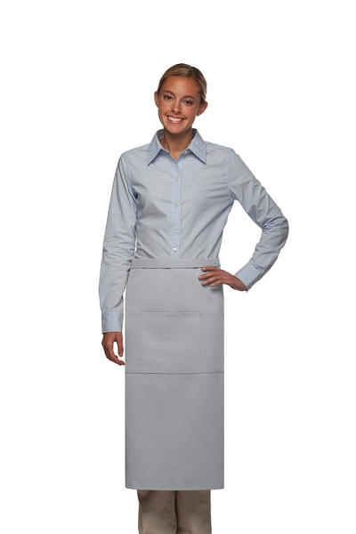 Style 123 Professional Three Pocket Full Length Bistro Apron - Silver Gray