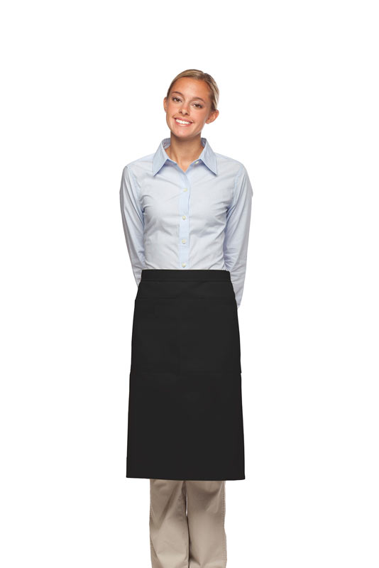 Style 124 Professional Two Large Pocket 3/4 Bistro Apron - Black