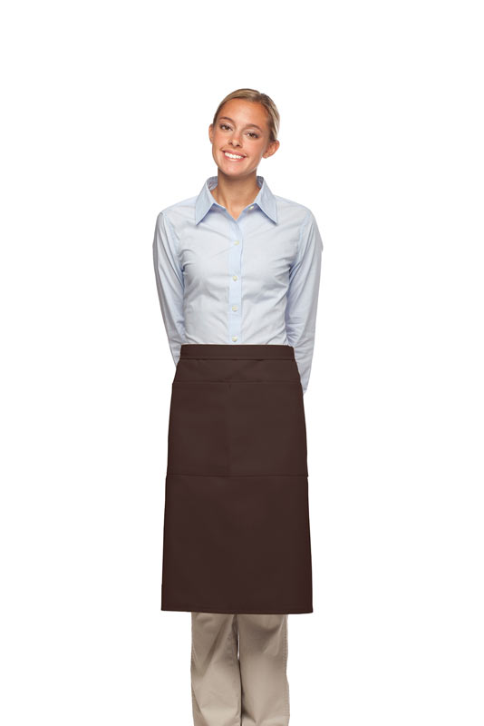 Style 124 Professional Two Large Pocket 3/4 Bistro Apron - Brown