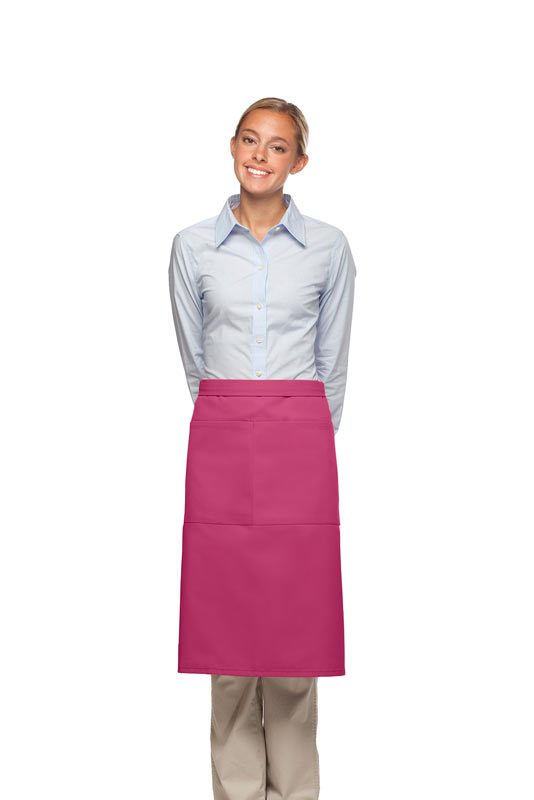 Style 124 Professional Two Large Pocket 3/4 Bistro Apron - Hot Pink