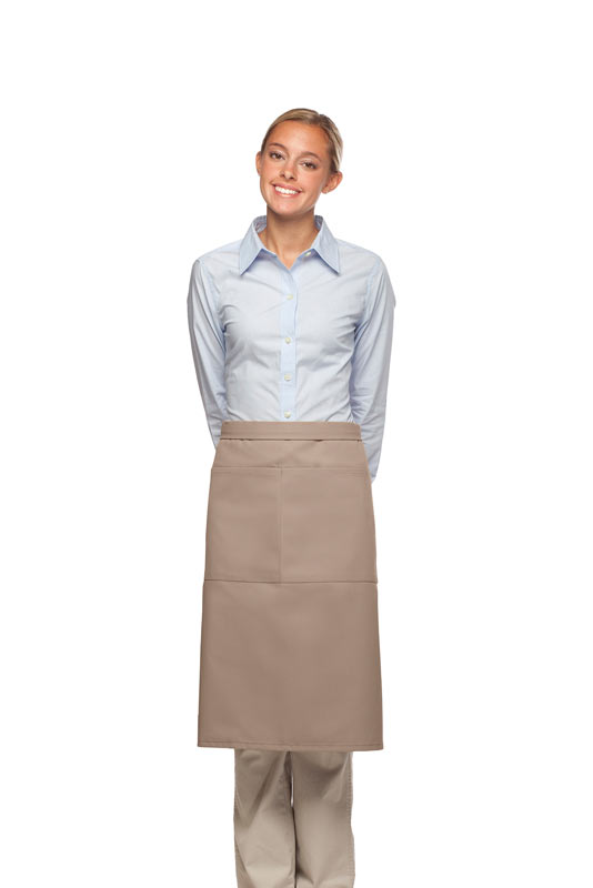 Style 124 Professional Two Large Pocket 3/4 Bistro Apron - Khaki