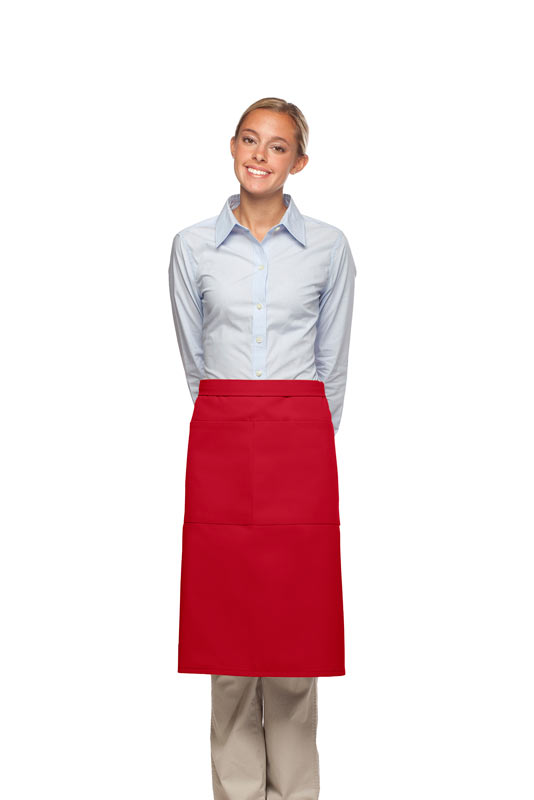 Style 124 Professional Two Large Pocket 3/4 Bistro Apron - Red