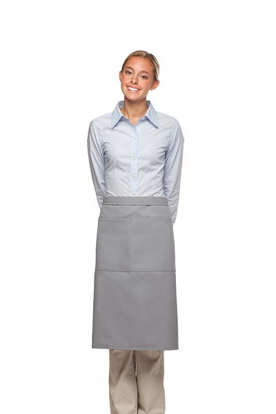 Style 124 Professional Two Large Pocket 3/4 Bistro Apron - Silver Gray
