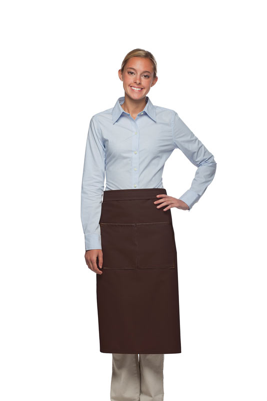Style 128 Professional Full Bistro Apron with center divided pocket - Brown