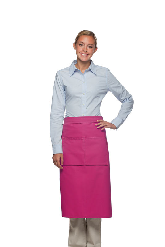 Style 128 Professional Full Bistro Apron with center divided pocket - Hot Pink
