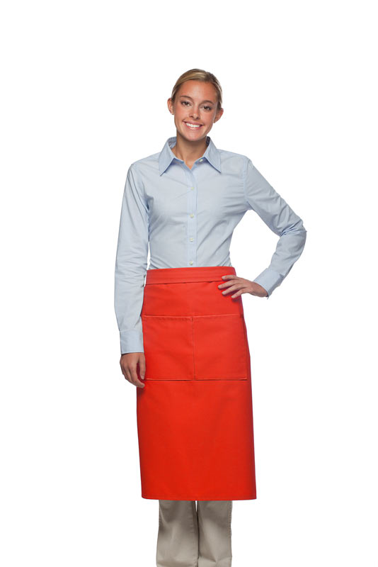 Style 128 Professional Full Bistro Apron with center divided pocket - Orange