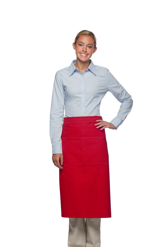 Style 128 Professional Full Bistro Apron with center divided pocket - Red