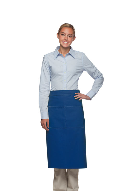Style 128 Professional Full Bistro Apron with center divided pocket - Royal Blue