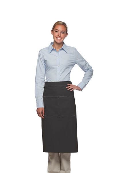 Style 128 Professional Full Bistro Apron with center divided pocket - Charcoal Gray