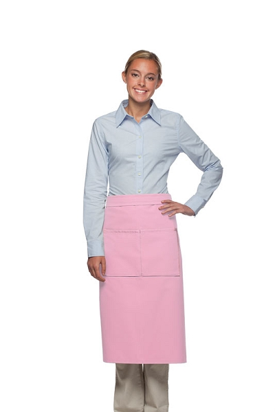 Style 128 Professional Full Bistro Apron with center divided pocket - Pink