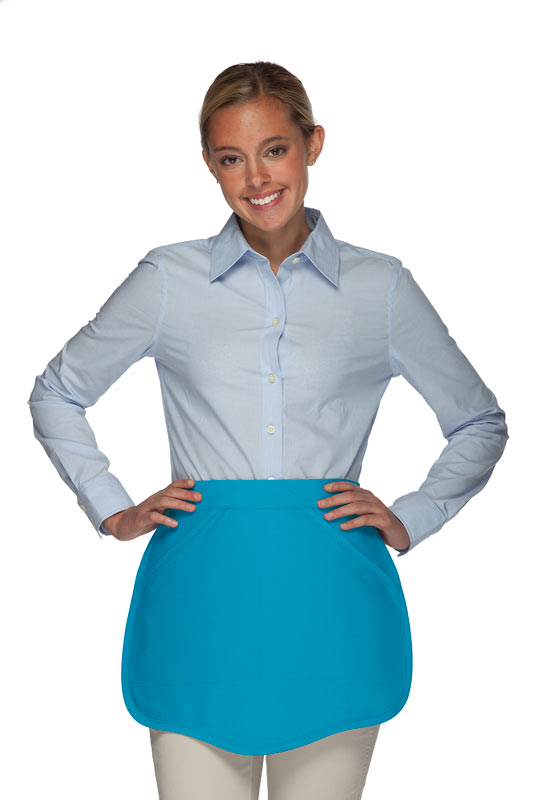 Style 130R Professional Two Pocket Reversible Scalloped Waist Apron - Turquoise