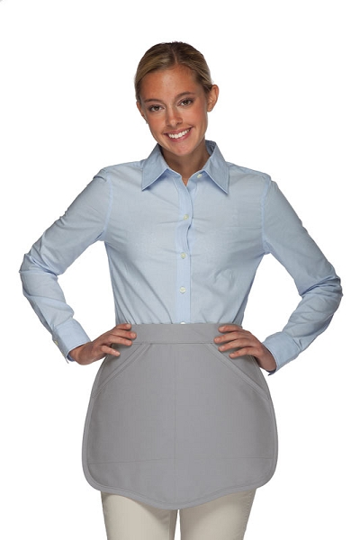Style 130 Professional Two Pocket Scalloped Waist Aprons - Silver Gray