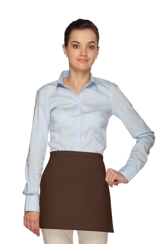 Style 140R Professional Two Pocket Squared Reversible Waist Aprons - Brown