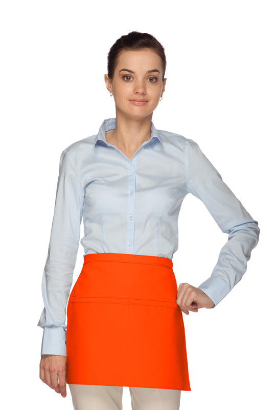 Style 140R Professional Two Pocket Squared Reversible Waist Aprons - Orange