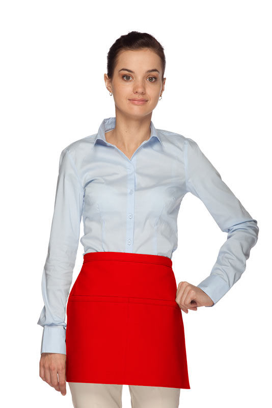 Style 140R Professional Two Pocket Squared Reversible Waist Aprons - Red