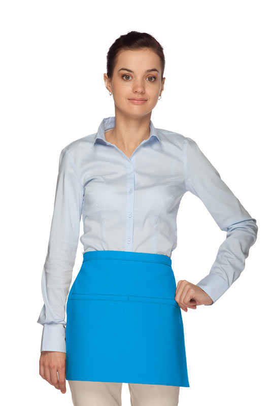 Style 140 Professional Two Pocket Squared Waist Aprons - Turquoise