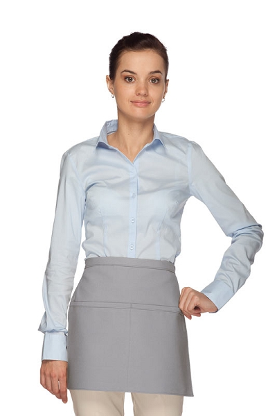 Style 140 Professional Two Pocket Squared Waist Aprons - Silver Gray
