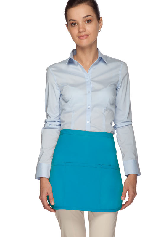 Style 180 Professional Three Pocket Rounded Waist Aprons - Turquoise