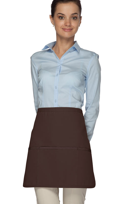 Style 180XL Professional Extra Large Three Pocket Rounded Waist Apron - Brown