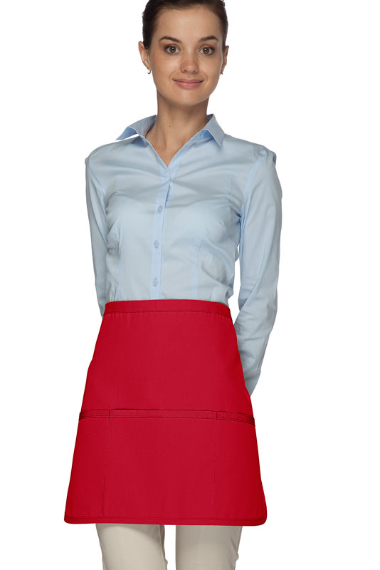 Style 180XL Professional Extra Large Three Pocket Rounded Waist Apron - Red