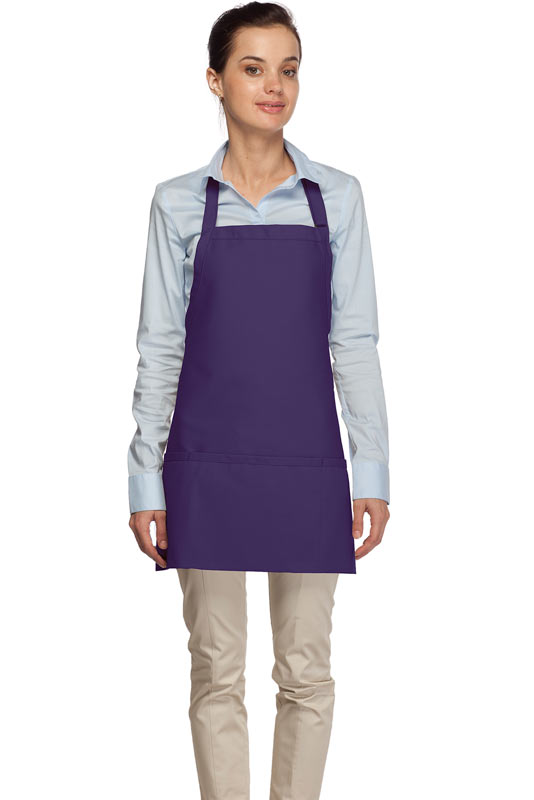 Style 200 High Quality Professional Three Pocket Bib Aprons - Purple