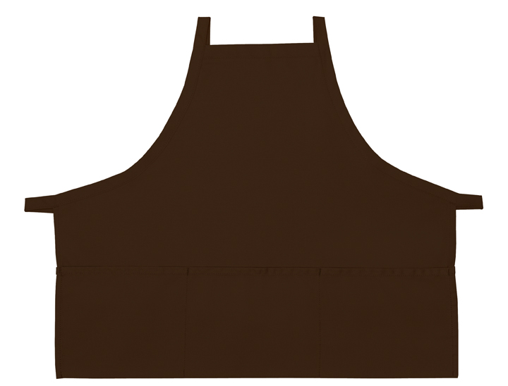 Style 200XX High Quality Professional Three Pocket Criss Cross Bib Aprons - Brown