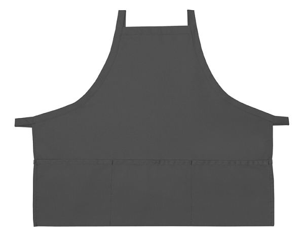 Style 200XX High Quality Professional Three Pocket Criss Cross Bib Aprons - Charcoal Gray