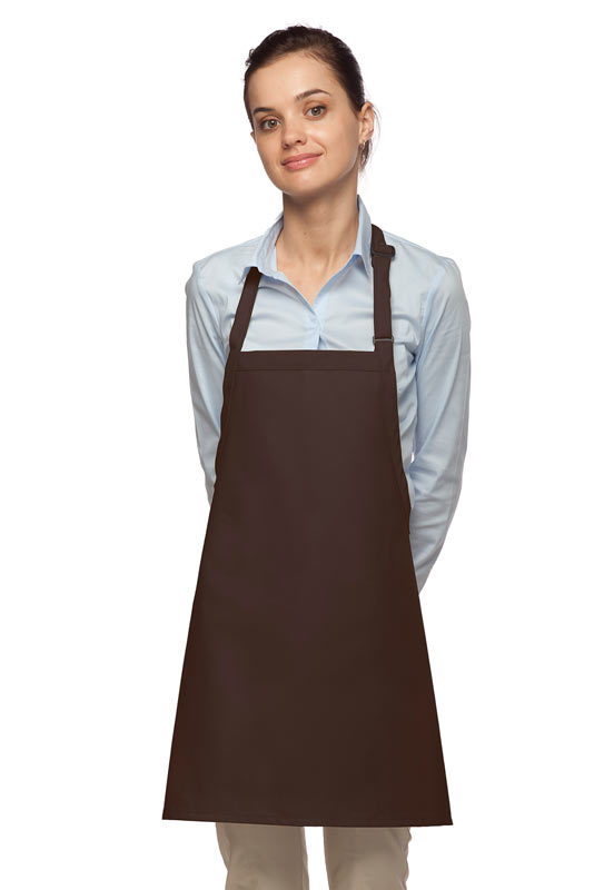 Style 200NP High Quality Professional No Pocket Bib Aprons - Brown