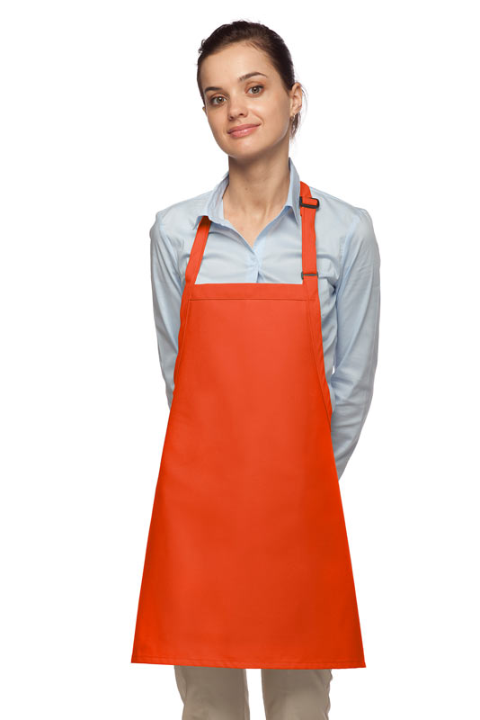 Style 200NP High Quality Professional No Pocket Bib Aprons - Orange