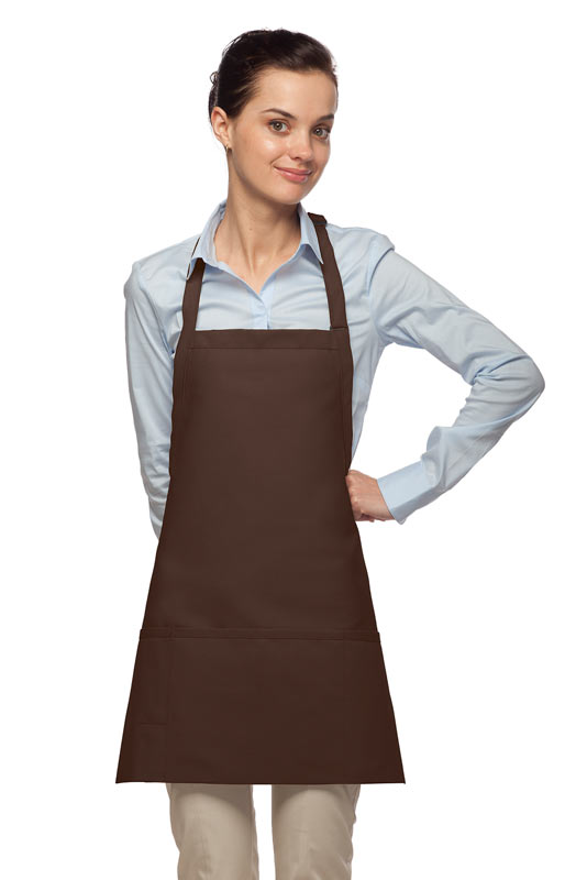 Style 200PD High Quality Professional Three Pocket Bib Aprons w/ Pencil Divide - Brown